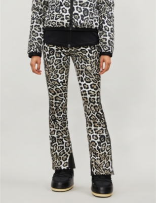 Roar leopard print shell ski trousers