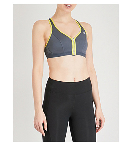 SHOCK ABSORBER Zipped reflective stretch-jersey sports bra (Grey/yellow