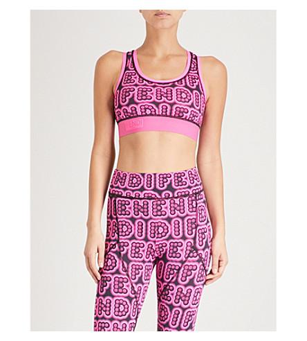 FENDI Fun Fair logo-print stretch-jersey cropped top (Black+pink