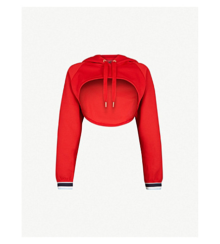 PUMA Varsity cropped jersey hoody (Ribbon+red