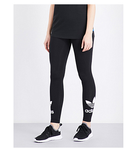 ADIDAS ORIGINALS Trefoil logo stretch-cotton leggings (Black