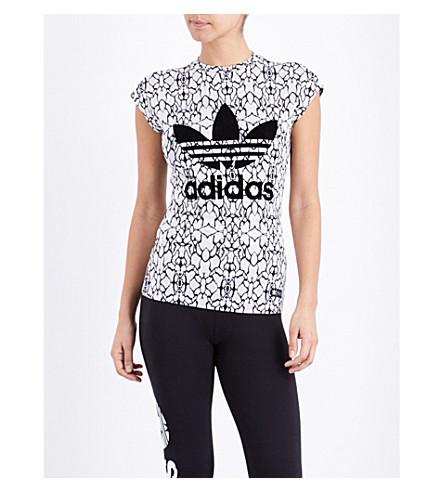 ADIDAS ORIGINALS Trefoil stretch-jersey top (C white/black