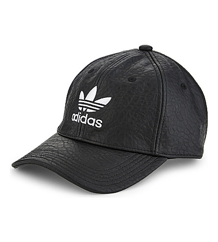 ADIDAS ORIGINALS Trefoil faux-leather strapback cap (Black