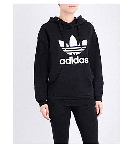 ADIDAS ORIGINALS Trefoil-print cotton-blend hoody (Black