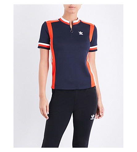 ADIDAS ORIGINALS Osaka striped jersey polo shirt (Legend+ink+f17