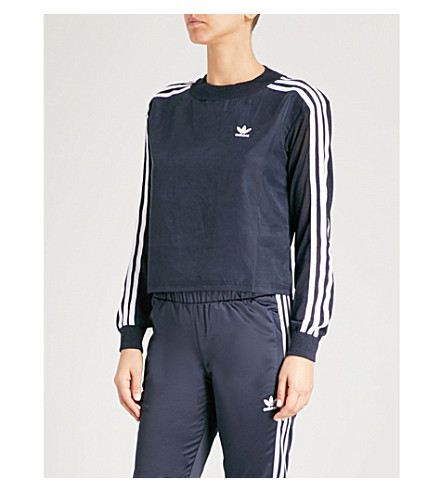 ADIDAS ORIGINALS 3-Stripes satin and knitted sweatshirt (Legend ink