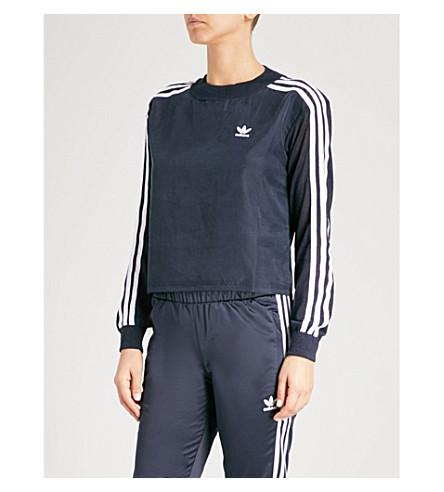 ADIDAS ORIGINALS 3-Stripes satin and knitted sweatshirt (Legend+ink