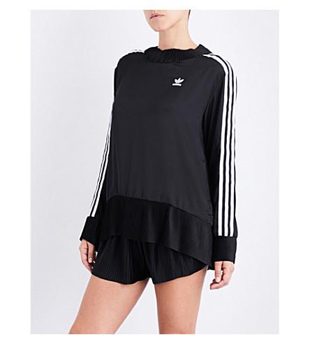 ADIDAS ORIGINALS 3-Stripes pleated satin sweatshirt (Black