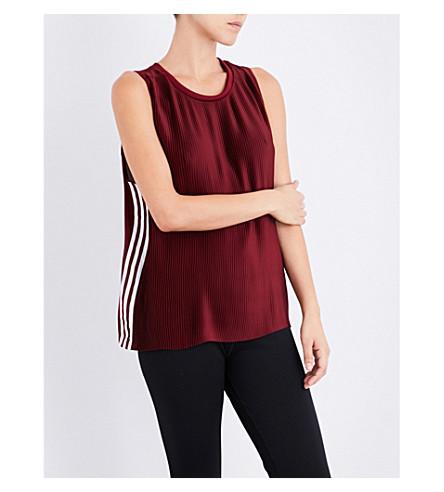 ADIDAS ORIGINALS 3-Stripes pleated satin top (Collegiate+burgundy