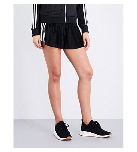 ADIDAS ORIGINALS 3-Stripes pleated satin shorts (Black