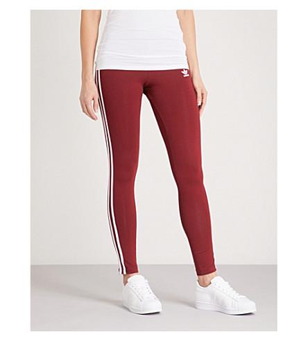 ADIDAS ORIGINALS 3-stripe stretch-cotton leggings (Collegiate burgundy