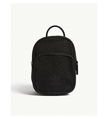ADIDAS ORIGINALS Embossed faux-suede mini backpack (Black
