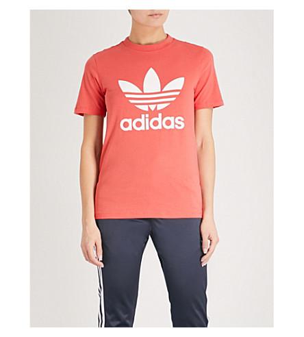ADIDAS ORIGINALS Trefoil stretch-cotton T-shirt (Trace+scarlet+s18/white