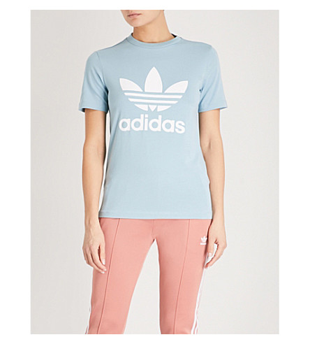 ADIDAS ORIGINALS Trefoil stretch-cotton T-shirt (Ash+grey+s18/white