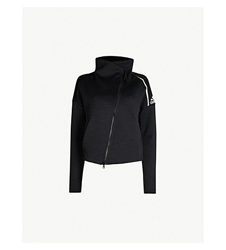 ADIDAS PERFORMANCE Funnel-neck stretch-jersey sweatshirt (Zne htr/black