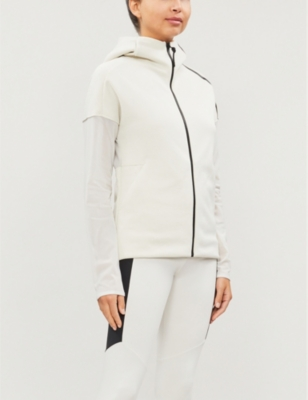 Mesh-panelled stretch-jersey hoody