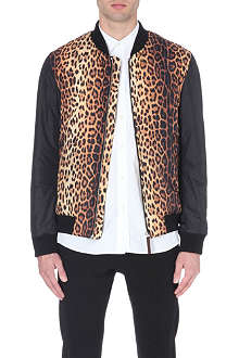 MOSCHINO Leopard print bomber jacket