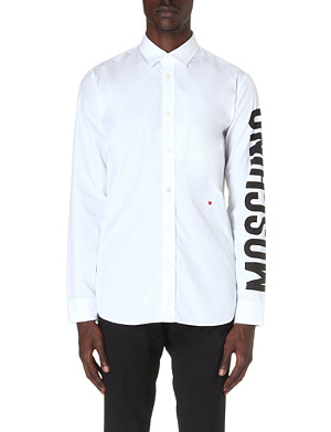 MOSCHINO Logo-sleeve cotton shirt