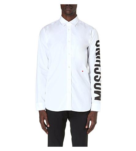 MOSCHINO Logo-sleeve cotton shirt (White