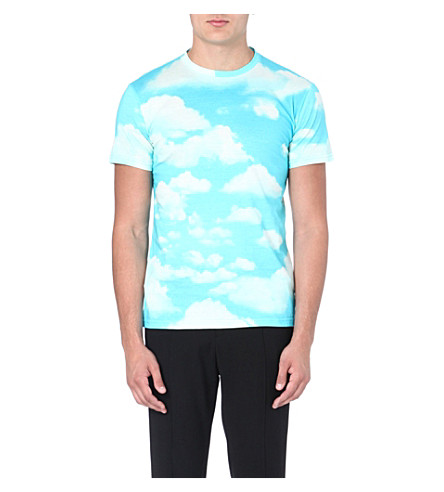 MOSCHINO Sky print cotton t-shirt (Blue