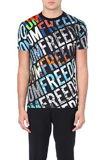 MOSCHINO Freedom print cotton t-shirt