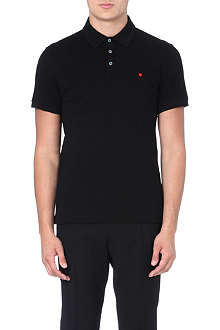 MOSCHINO Heart embroidered cotton polo shirt