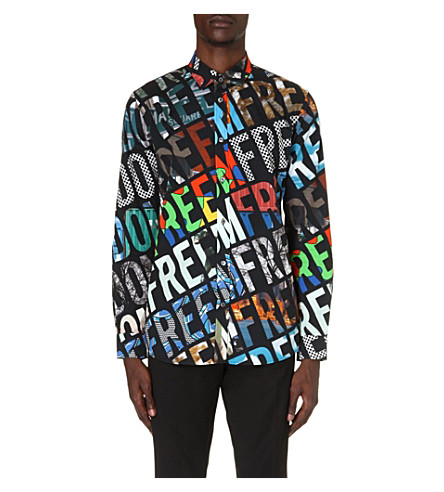 MOSCHINO Freedom-print cotton shirt (Black