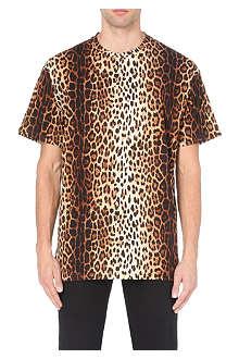 MOSCHINO Leopard-print cotton-jersey t-shirt