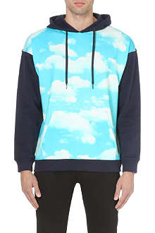 MOSCHINO Cloud-print cotton-jersey hoody
