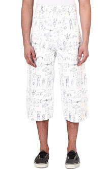 GOSHA RUBCHINSKIY Illustrative print loose-fit cropped jeans