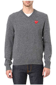 COMME DES GARCONS PLAY Heart knitted V-neck jumper