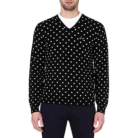 COMME DES GARCONS PLAY Polka-dot knitted jumper (Black