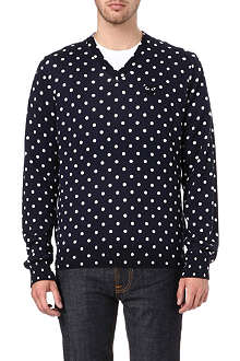 COMME DES GARCONS PLAY V-neck polka dot knitted jumper