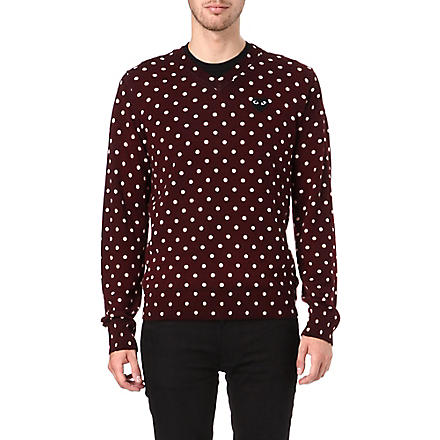 COMME DES GARCONS PLAY Polka-dot knitted jumper (Burgundy
