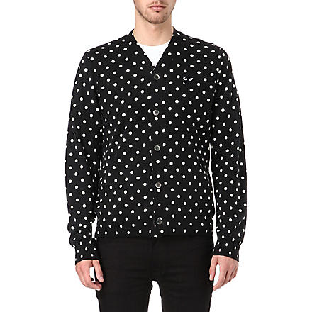 COMME DES GARCONS PLAY Polka-dot knitted cardigan (Black