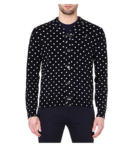 COMME DES GARCONS PLAY Polka-dot knitted cardigan (Navy