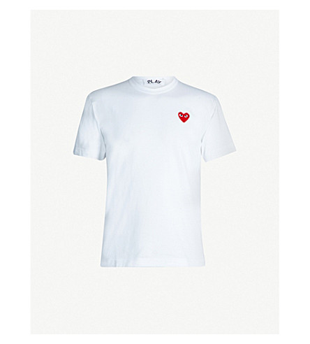 COMME DES GARCONS PLAY Embroidered heart cotton t-shirt (White