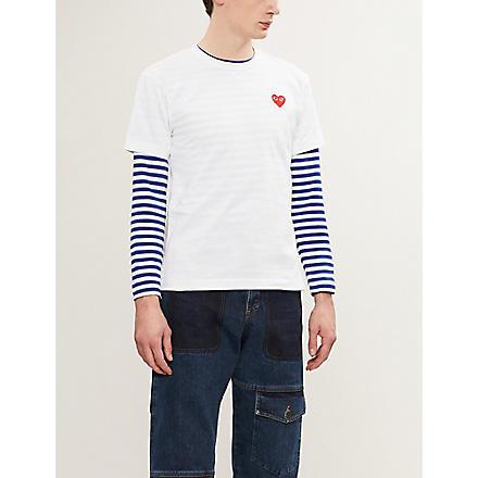 COMME DES GARCONS PLAY Heart-appliqué t-shirt (White