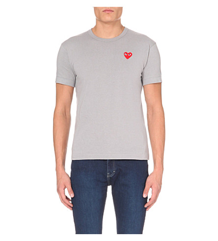 COMME DES GARCONS PLAY Embroidered heart cotton t-shirt (Grey