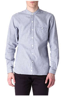 OLIVER SPENCER Textured-diamond collarless single-cuff shirt