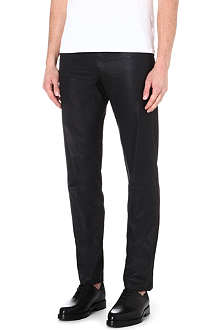 HELMUT LANG Leather-effect regular-fit straight jeans