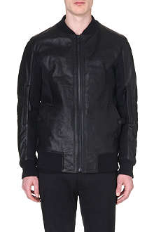 HELMUT LANG Leather mesh-panelled bomber jacket