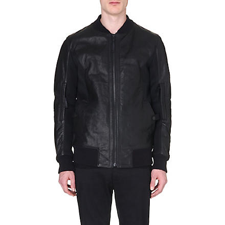 HELMUT LANG Leather mesh-panelled bomber jacket (Black