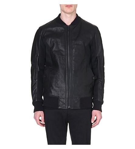 HELMUT LANG Leather mesh-panelled bomber jacket (Black