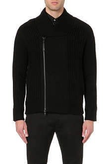 HELMUT LANG Chunky-knit zip-up wool cardigan