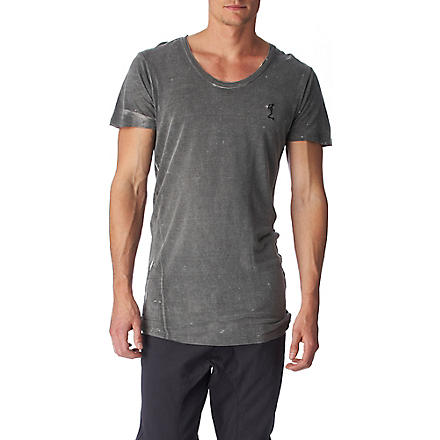 RELIGION Overdyed scoop–neck t–shirt (Grey