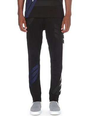 Y3 Striped cotton-jersey jogging bottoms