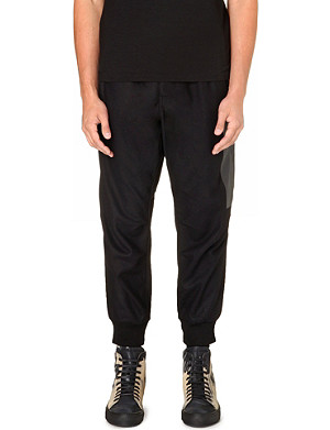 Y3 Faux-leather panelled jogging bottoms