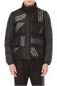 Y3 Striped detachable-sleeve coat