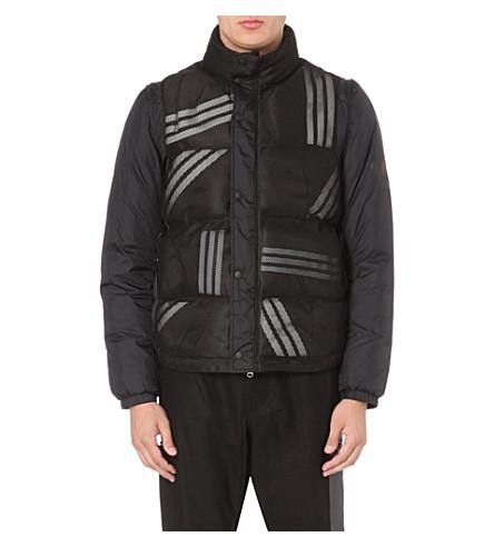 Y3 Striped detachable-sleeve coat (Black